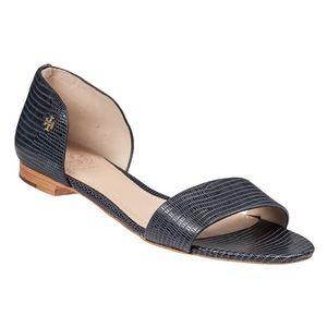 Tory Burch Savannah Open Peep Toe Blue Sandals